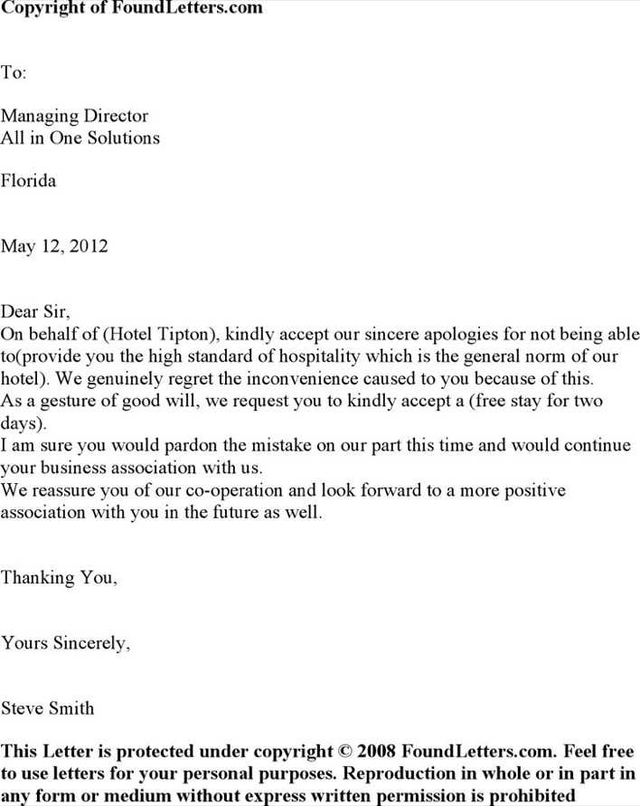 Download Hotel Apology Letter 2 for Free - TidyTemplates
