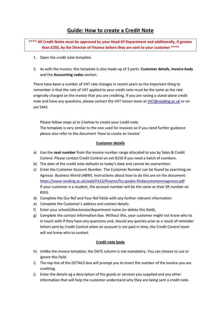Download How to Create A Credit Note Template Free PDF for Free