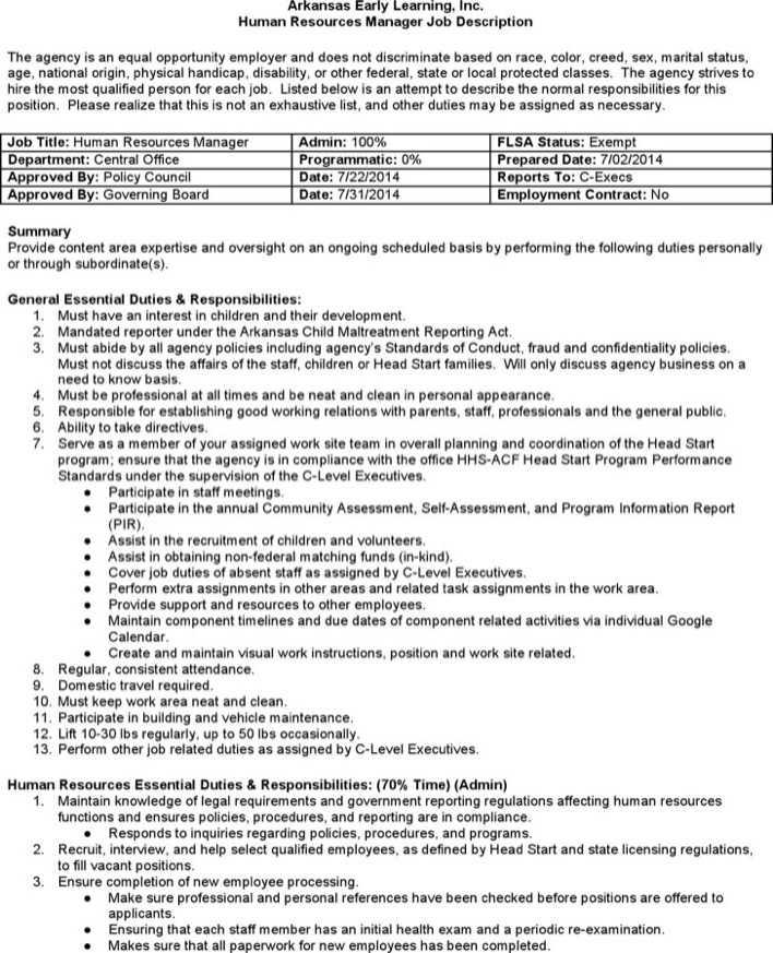 Human resource job description pdf