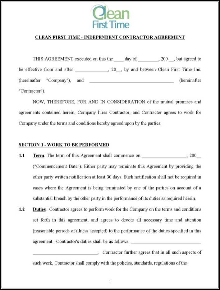 Download Independent Cleaning Contract Agreement Free Doc Template