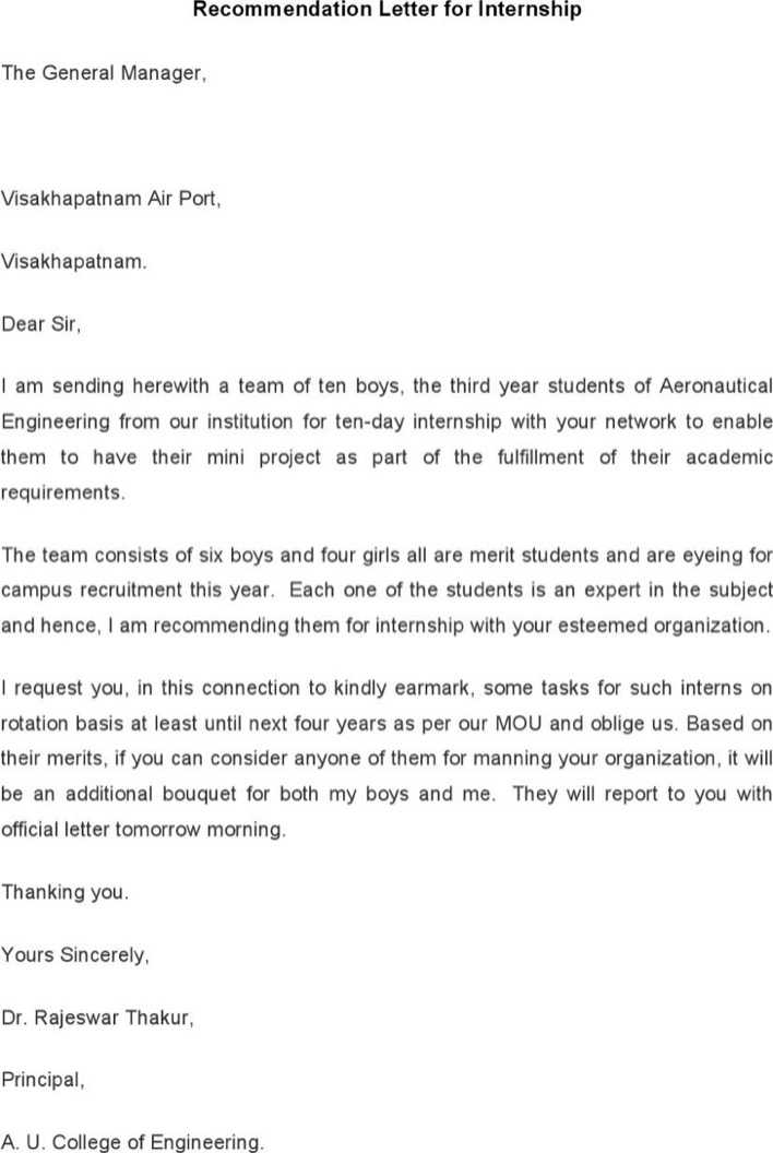 Download Internship Recommendation Letter Template for Free