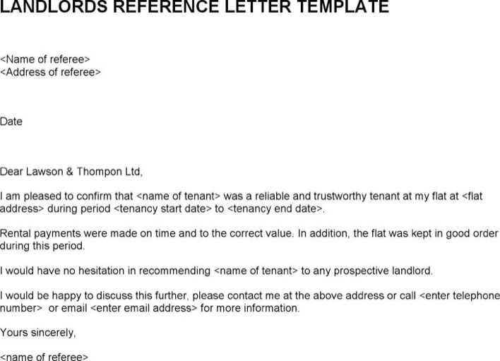 Download Landlords Reference Letter Template for Free - TidyTemplates