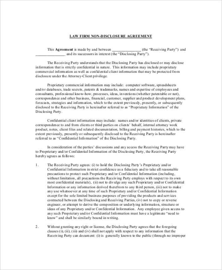 Download Law Firm Non Disclosure and Confidentiality Agreement