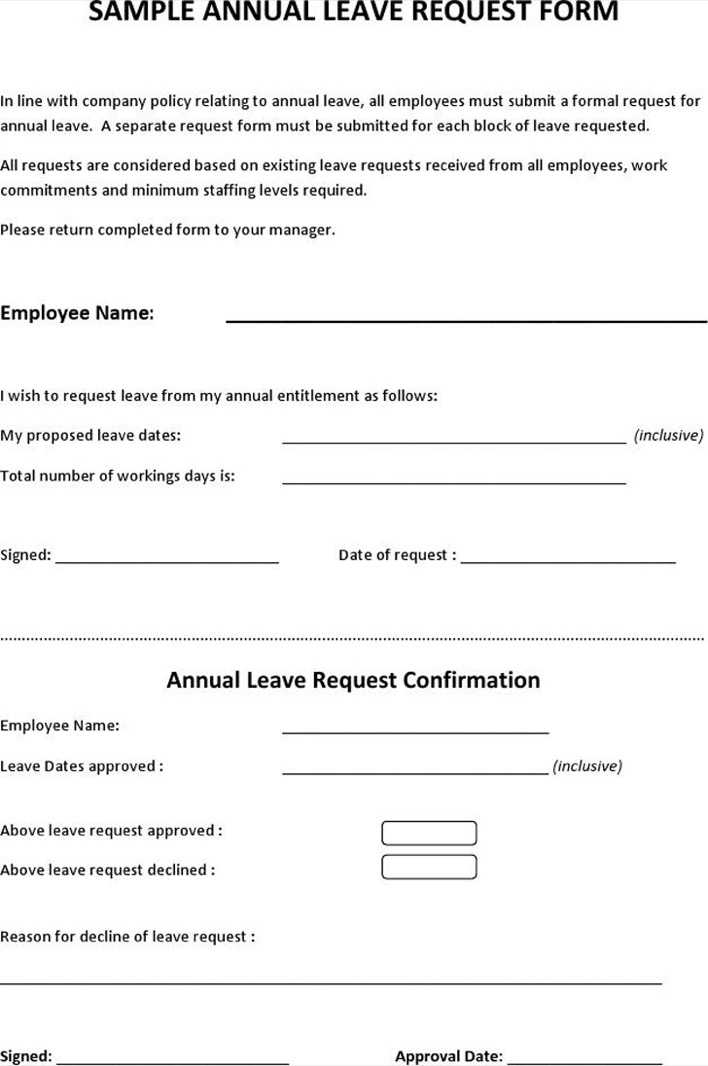 Download Sample Annual Leave Request Form for Free - TidyTemplates