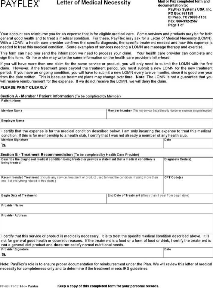 Download Letter of Medical Necessity for Free - TidyTemplates - letter of medical necessity form