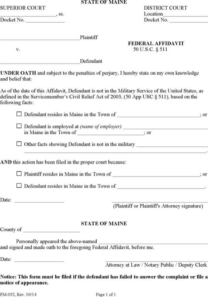 Download Maine Federal Affidavit Form for Free - TidyTemplates