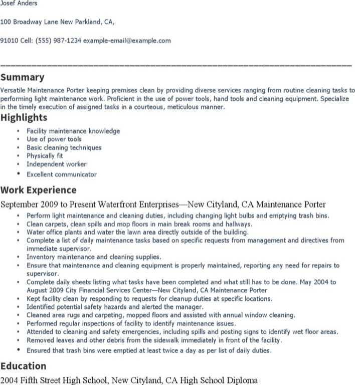 Download Maintenance Porter Resume for Free - TidyTemplates