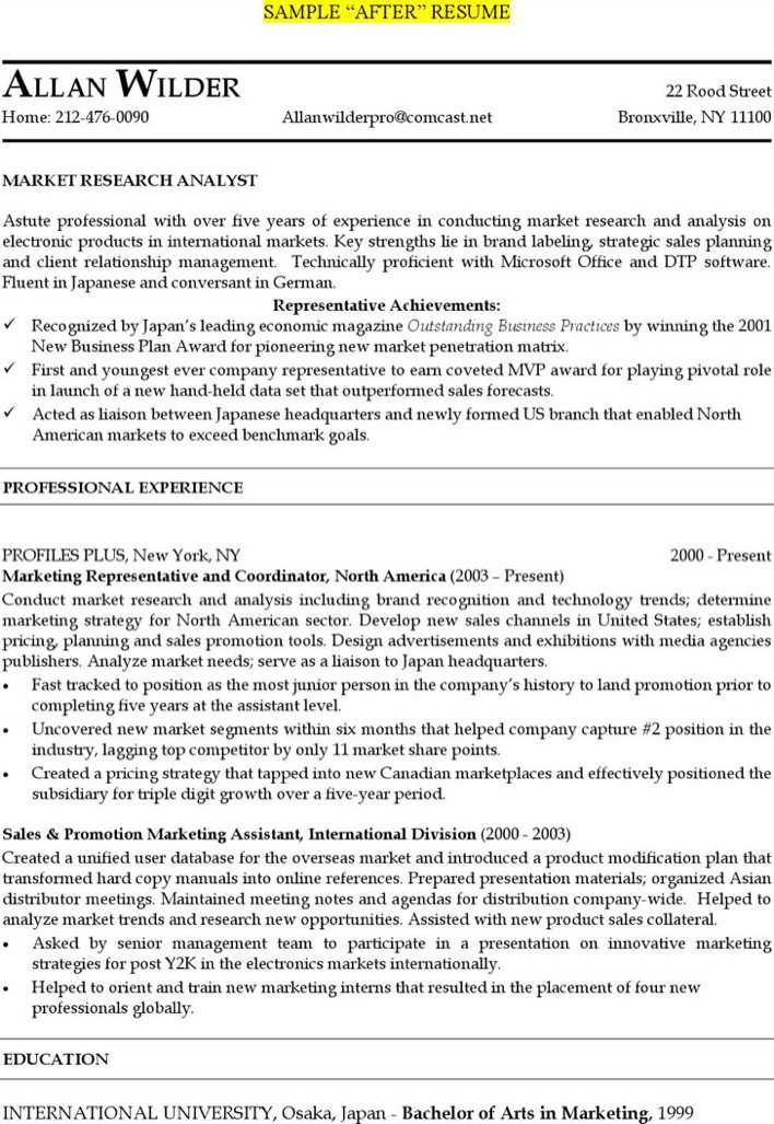 Download Marketing Research Analyst Resume Free Pdf Template for