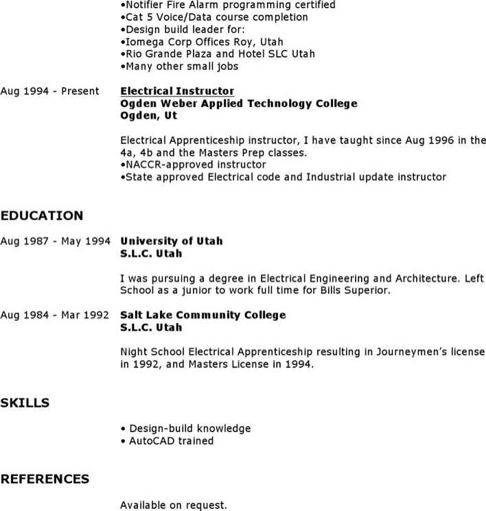 Download Master Electrician Resume for Free Page 2 - TidyTemplates