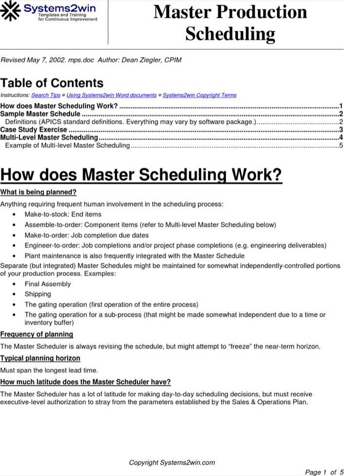 Download Master Production Schedule Template for Free - TidyTemplates