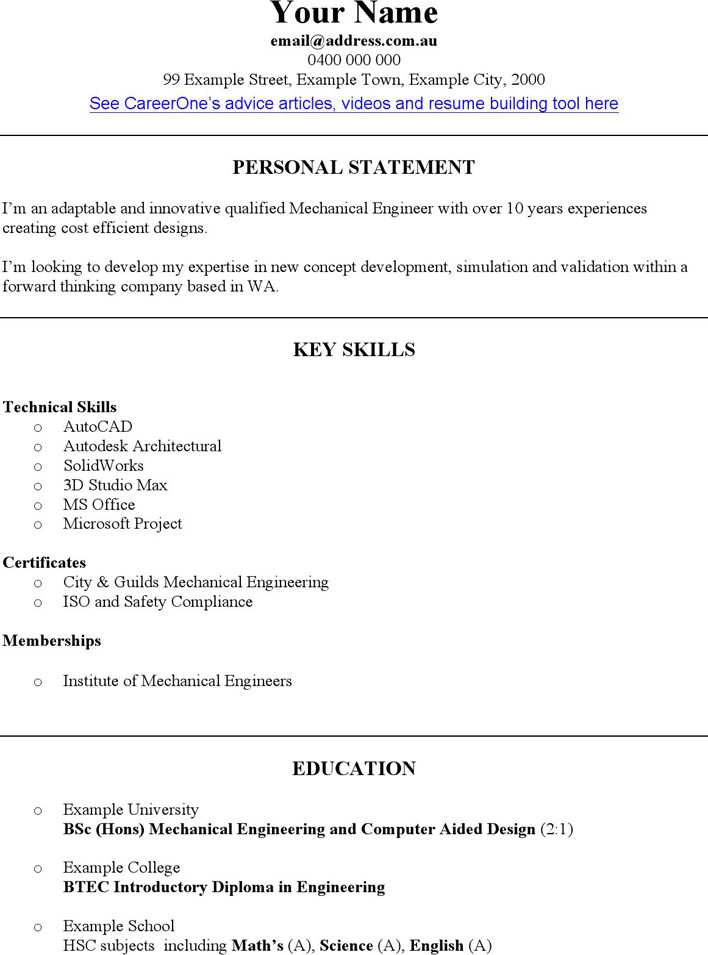 Download Mechanical Engineer CV Template for Free - TidyTemplates