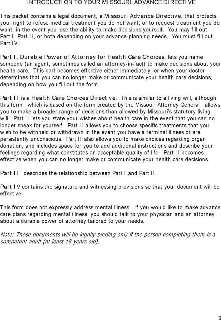 Download Missouri Advance Health Care Directive Form 1 for Free