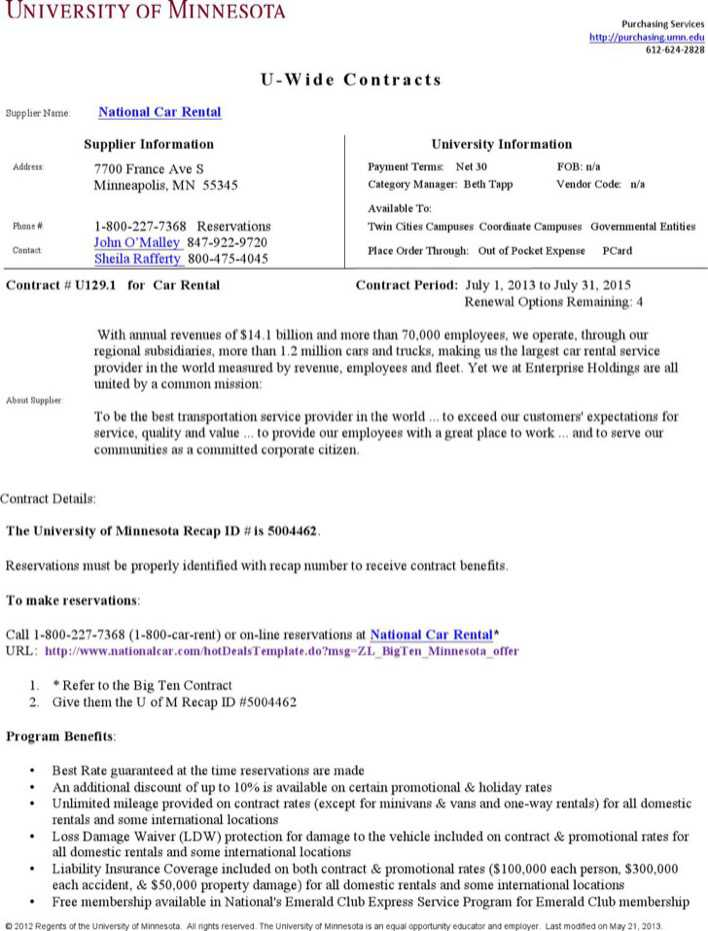 Download National Car Rental Agreement for Free - TidyTemplates