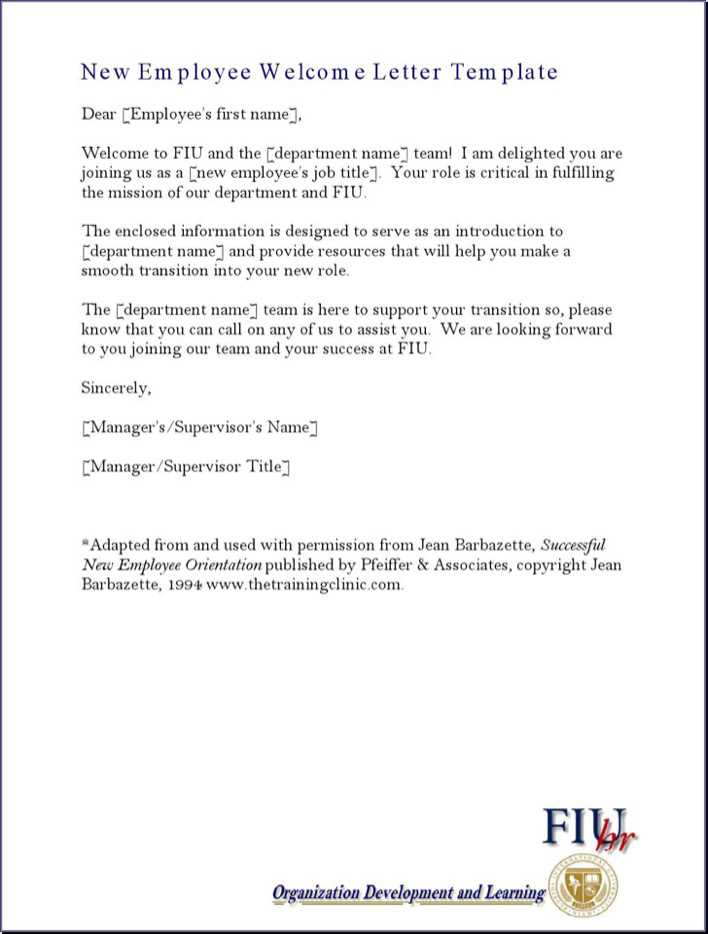 Download New Employee Sample Welcome Letter Write Up Template for