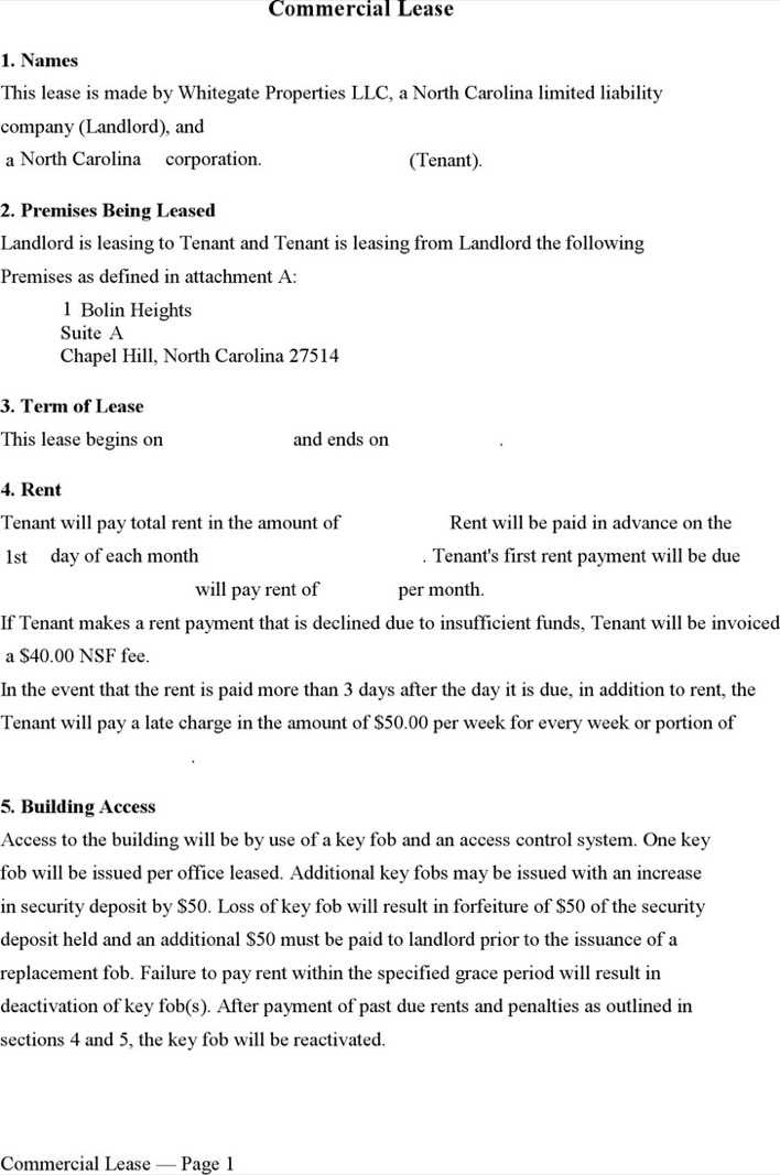 Download North Carolina Commercial Lease Form for Free Page 6