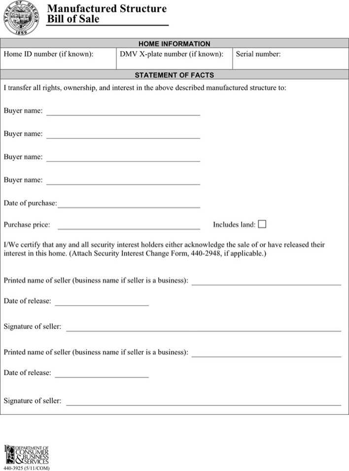 Download Oregon Manufactured Structure Bill of Sale Form for Free