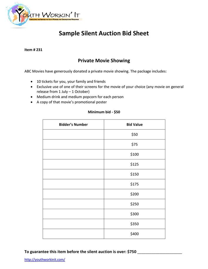 Download PDF Format Silent Auction Bid Sheet Template Free for Free