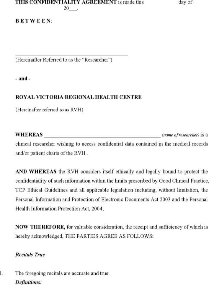 Download Personal Confidentiality Agreement Template for Free