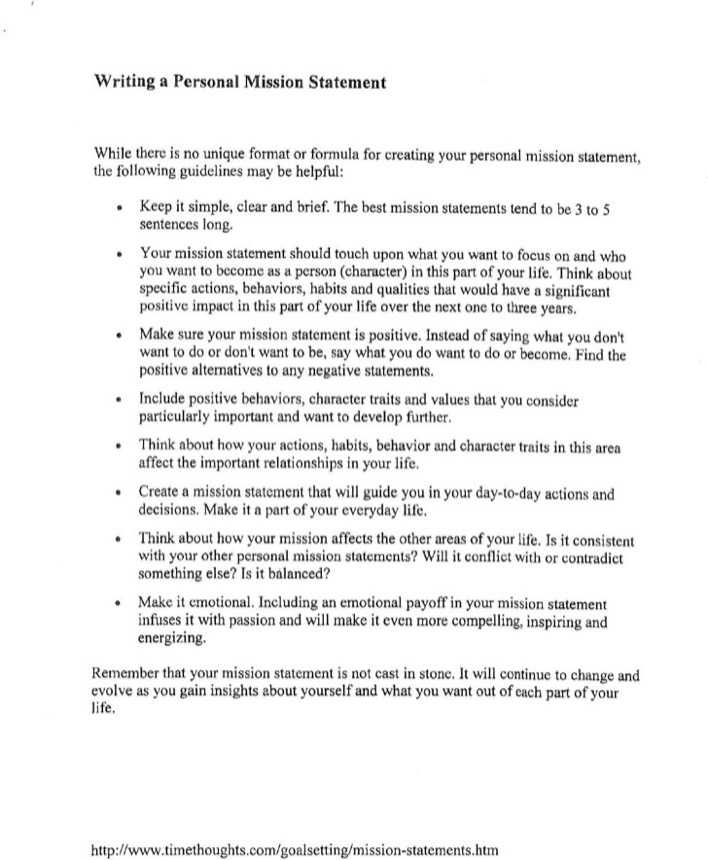Download Personal Mission Statement Template for Free - TidyTemplates