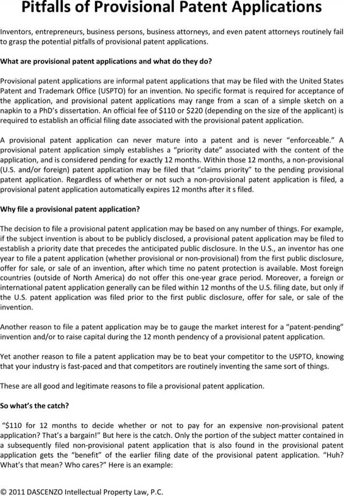 Download Pitfalls Of Provisional Patent Application Template
