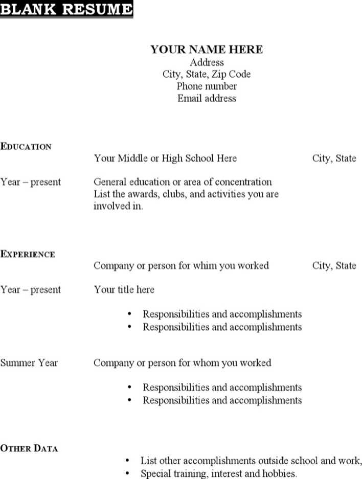 Download Printable Blank Resume Template Free Pdf Format Download