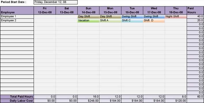 Download Printable Employee Daily Work Schedule Template Excel for