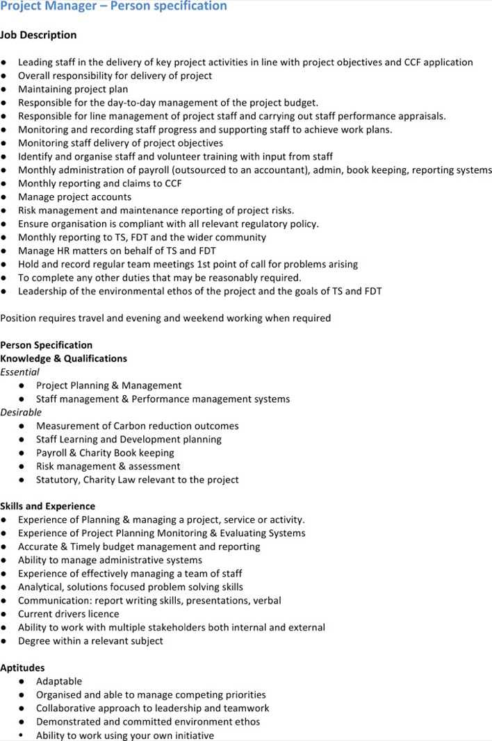 Download Project Manager Job Description Template for Free