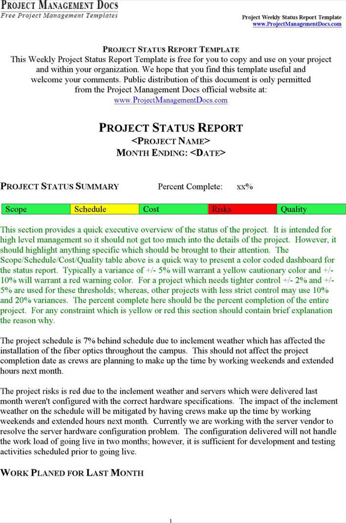 Download Project Status Report Template 6 for Free - TidyTemplates