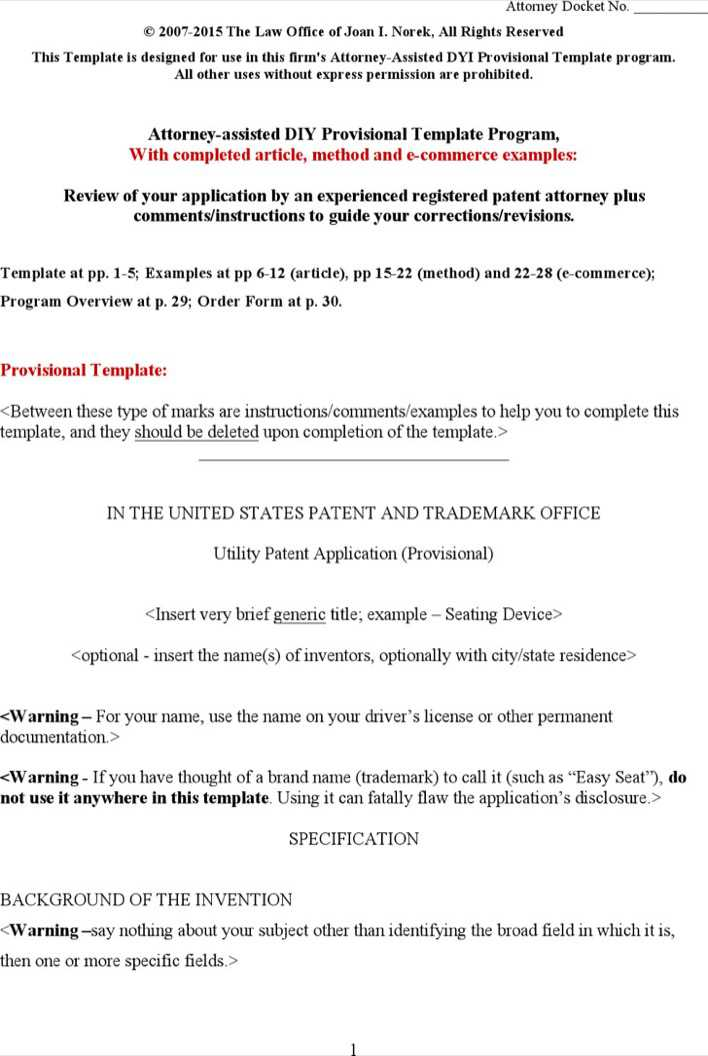 Download Provisional Patent Application Template Word Document Free