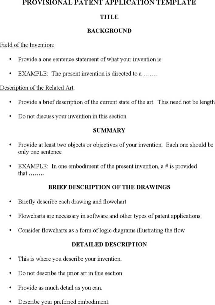 Download Provisional Patent Application Template Word Format Free