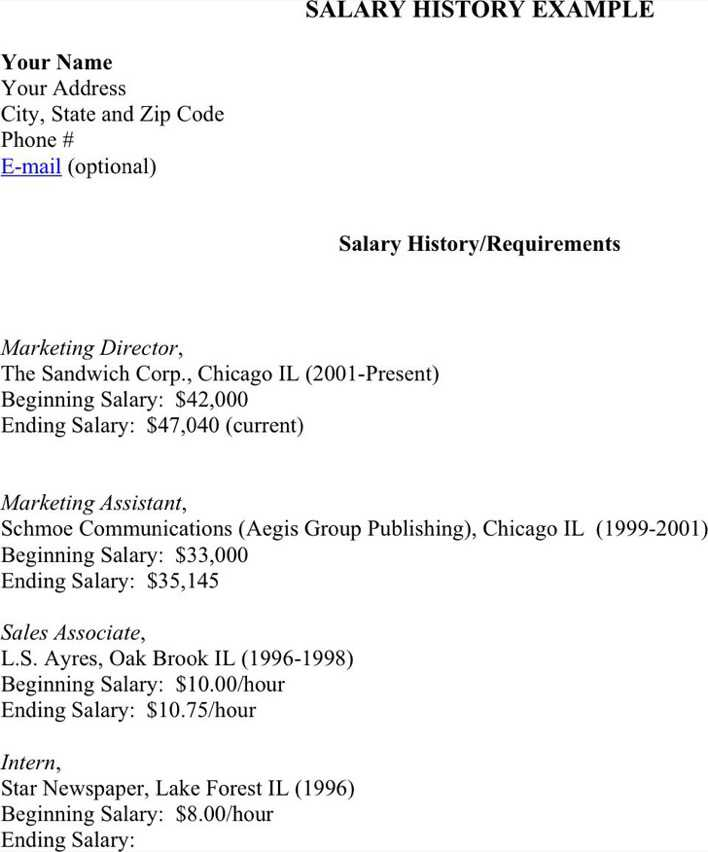 Download Salary History Example for Free - TidyTemplates