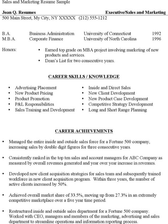 Download Sales Marketing Resume Sample for Free - TidyTemplates