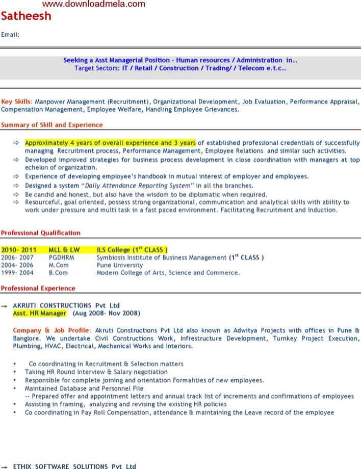 Download Sample Asst Hr Manager Resume Format for Free - TidyTemplates