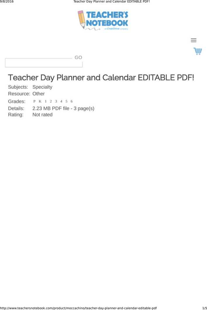 Download Sample Best Teacher Daily Planner Template for Free