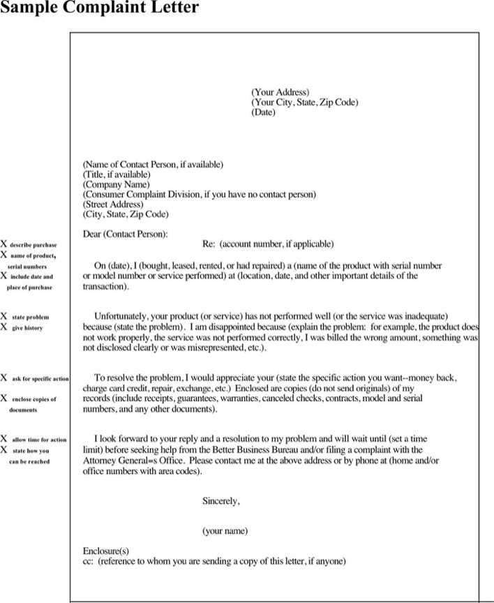 Download Complaint Letter Format for Free - TidyTemplates
