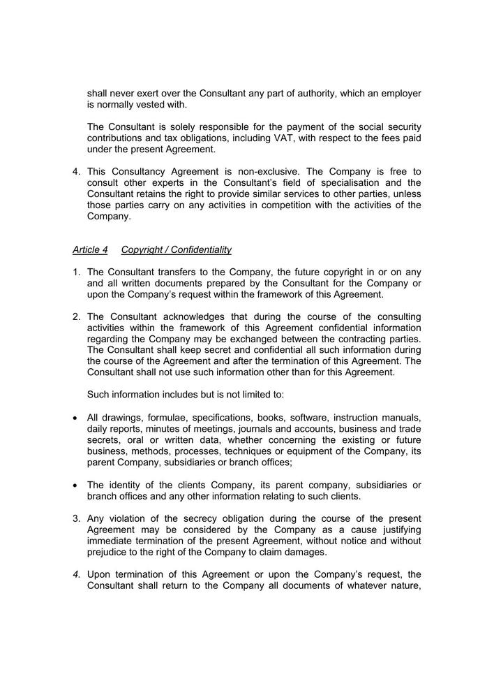 Download Sample Consulting Agreement Contract PDF for Free Page 3