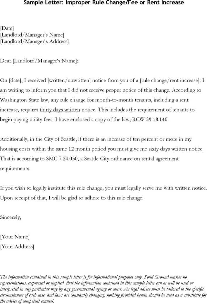 Download Sample Letter Improper Rule Change/fee or Rent Increase