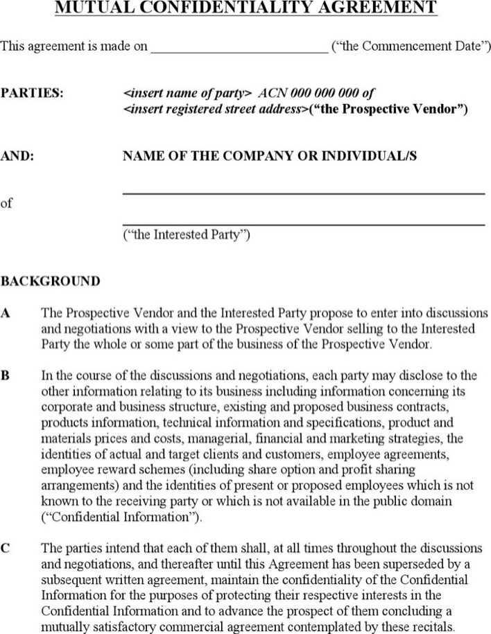 Bilateral Nda Agreement Free Mutual Template u2013