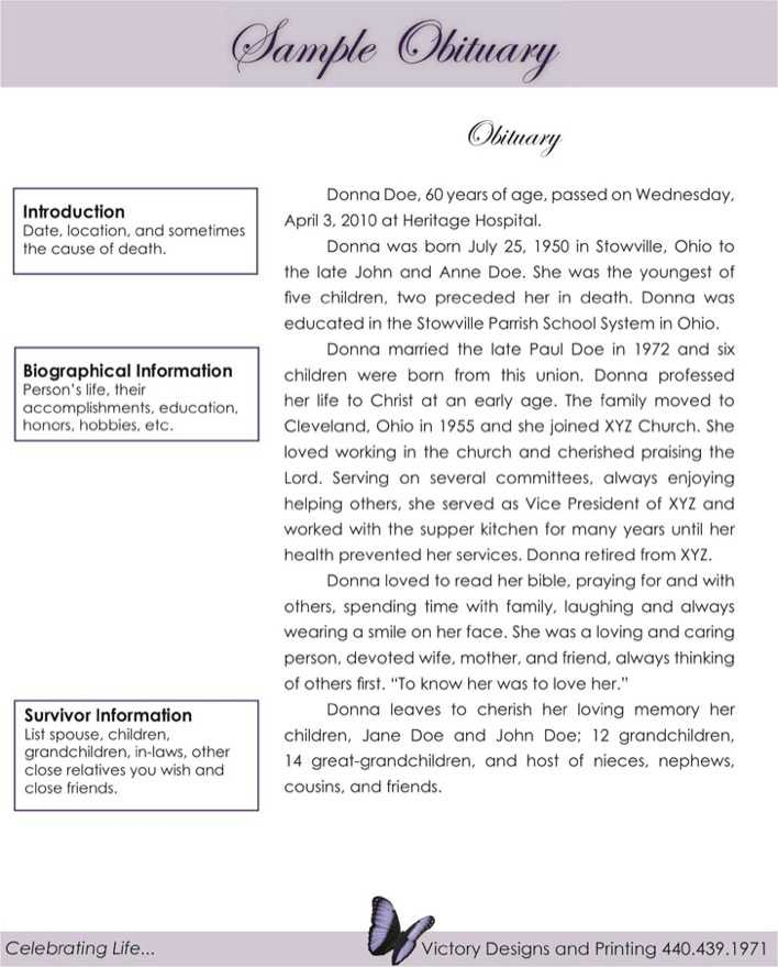 Download Sample Obituary 1 for Free - TidyTemplates