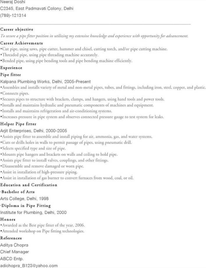 12 13 Pipefitter Resume Examples 14juillet2009
