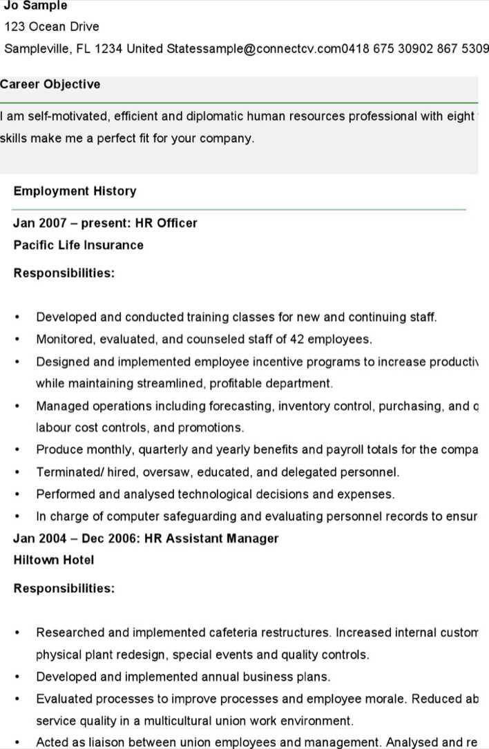 Download Sample Resume For Human Resources Officer for Free