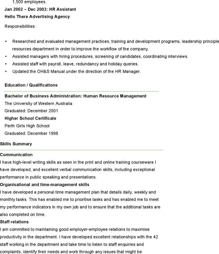 Download Sample Resume For Human Resources Officer for Free Page 2