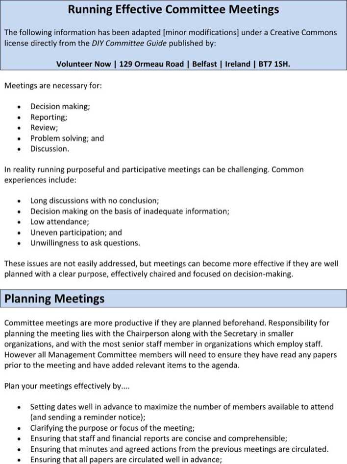 Download Sample Running Effective Committee Meeting Agenda for Free