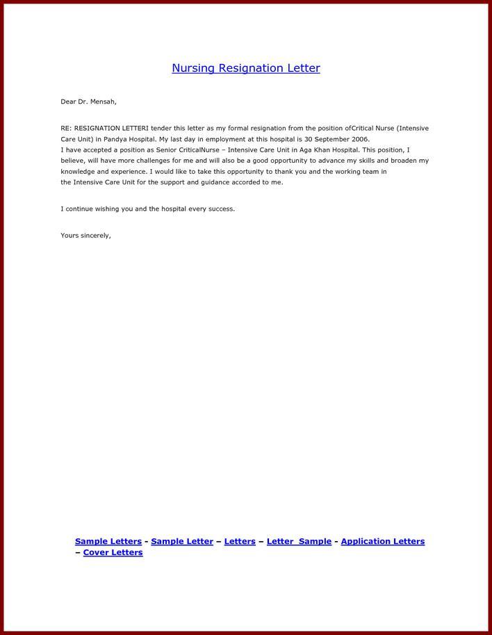 resignation letter nurse - Pinarkubkireklamowe