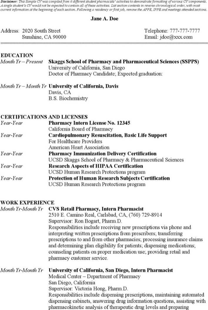 Download Sample Student Pharmacist Resume Templates for Free