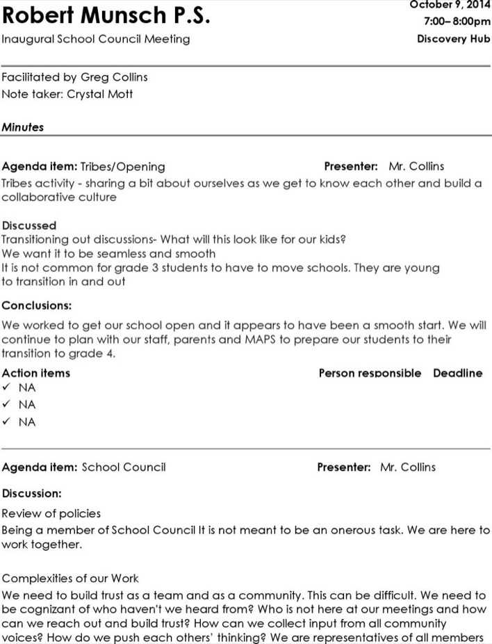 Download School Council Informal Meeting Minutes for Free