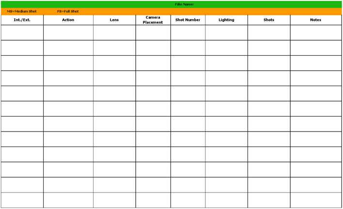 Download Shot List Template 3 for Free - TidyTemplates