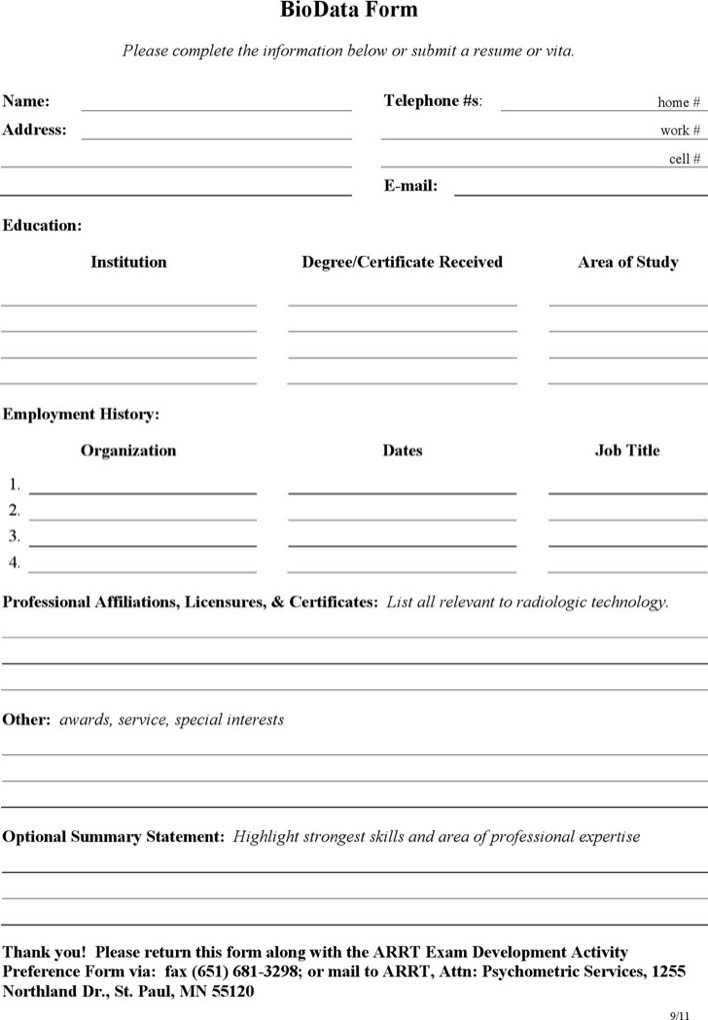 download biodata form - Towerdlugopisyreklamowe