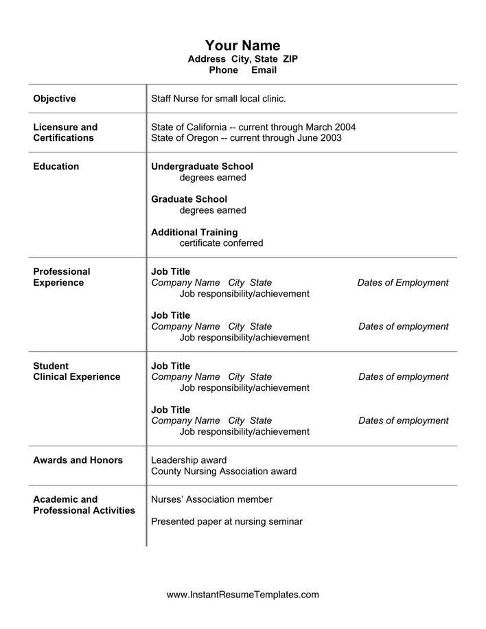 Download Simple Microsoft Word Nursing Resume CV Template for Free