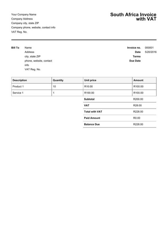Download South Africa Invoice Template with VAT for Free - TidyTemplates